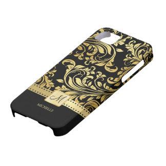 Damassé élégante de noir et d'or avec le monogramm coque iPhone 5 Case-Mate