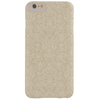Damassé élégante florale beige de papier peint coque iPhone 6 plus barely there