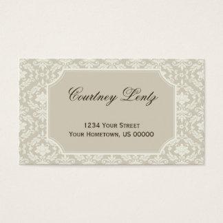 Damassé ene ivoire crème vintage cartes de visite