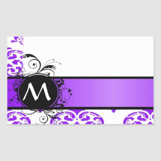 Damassé et monogramme pourpres sticker rectangulaire