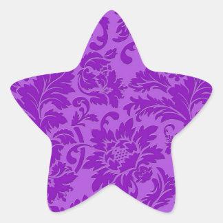 Damassé florale vintage monochromatique pourpre stickers en étoile