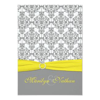 Damassé grise avec le faire-part de mariage jaune