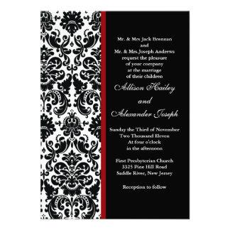Damassé noire avec le faire-part de mariage rouge