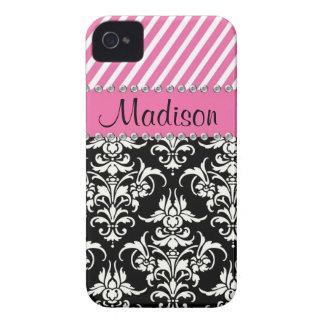 Damassé noire et blanche/caisse rose de fausse coque iPhone 4
