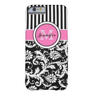 Damassé rayée rose, noire, blanche décorée d'un coque iPhone 6 barely there