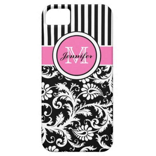 Damassé rayée rose, noire, blanche décorée d'un mo coque iPhone 5 Case-Mate