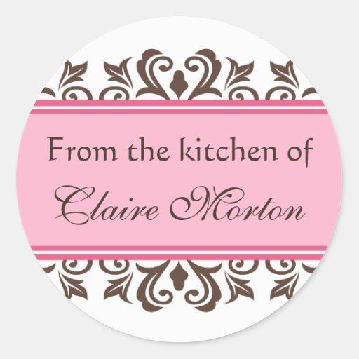 Damassé rose de la cuisine des autocollants [nommé