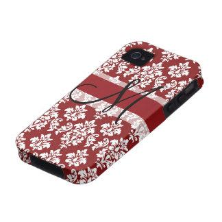 Damassé rouge et blanche votre monogramme étui iPhone 4