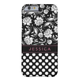 Damassés et motif noirs et blancs de Polkadot Coque iPhone 6 Barely There