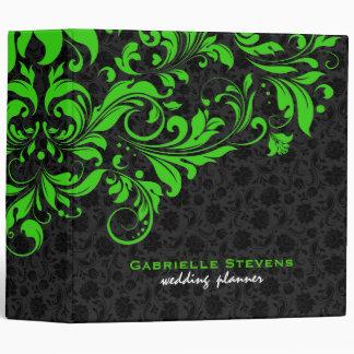 Damassés florales vintages noires et vertes classeur vinyle