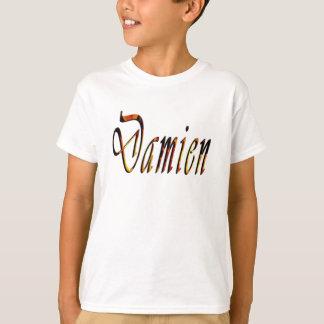Damien Name Logo, Boys White T-shirt