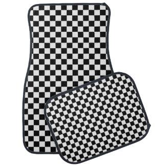 Damier classique noir et blanc tapis de voiture