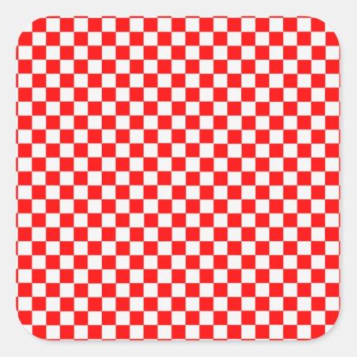 Damier classique rouge et blanc sticker carré