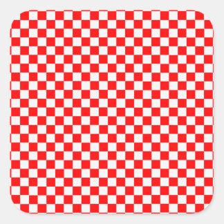 Damier classique rouge et blanc par STaylor Sticker Carré