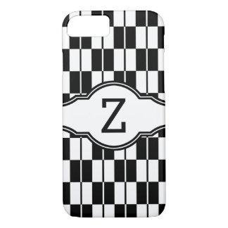 Damier noir et blanc de monogramme coque iPhone 7