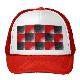 Damier rouge et noir texturisé casquette de camionneur