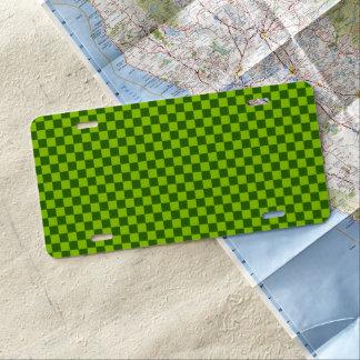 Damier vert de classique de combinaison plaque d'immatriculation