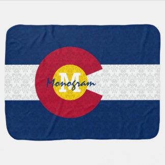 DaMonogram Personalized Damask Flag of Colorado Stroller Blankets