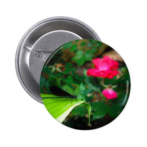 Damselfly and Rose Pins