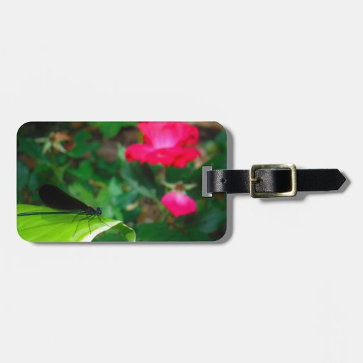 Damselfly and Rose Luggage Tag
