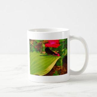 Damselfly and rose coffee mugs