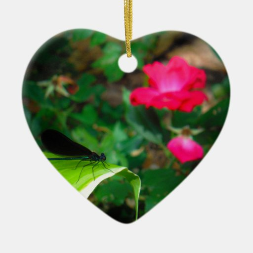 Damselfly and Rose Christmas Ornaments