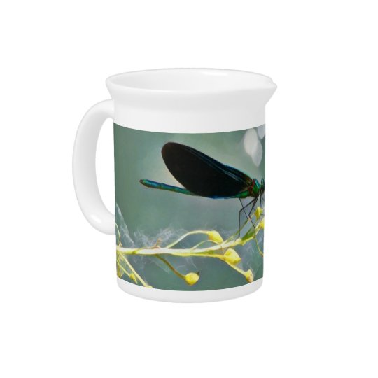 Damselfly Painting Beverage Pitcher