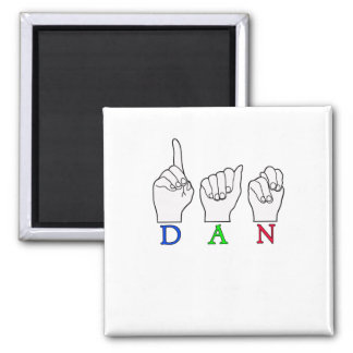 DAN ASL FINGERSPELLED NAME FEMALE SIGN SQUARE MAGNET