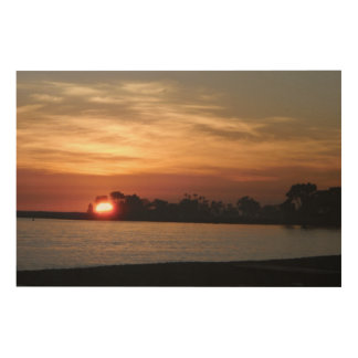 Dana point harbor silhouette sunset wood print