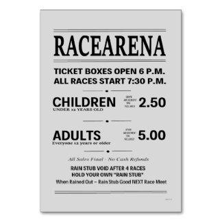 Danbury Fair Racearena Ticket Sign Card Table Card