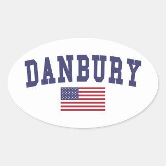 Danbury US Flag Oval Sticker