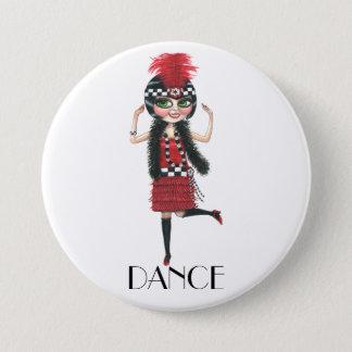 Dance 1920s Costume Big Eye Flapper Girl 3 Inch Round Button