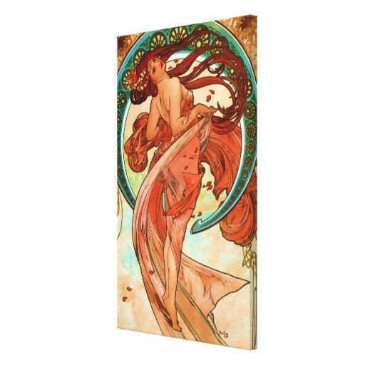 Dance Alphonse Mucha Art Nouveau Stretched Canvas Print