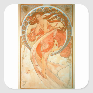 """Dance"" -  Art Nouveau - Alphonse Mucha Square Sticker"