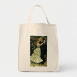 Dance at Bougival by Pierre Renoir, Vintage Art Grocery Tote Bag