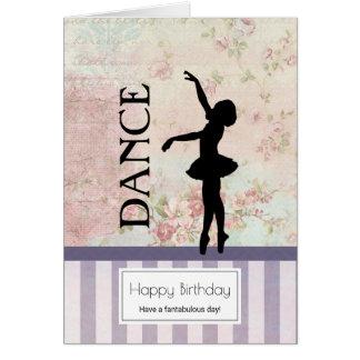 Dance - Ballerina Silhouette Vintage Birthday Card