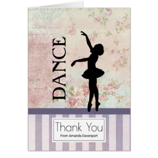 Dance - Ballerina Silhouette Vintage Thank You Card