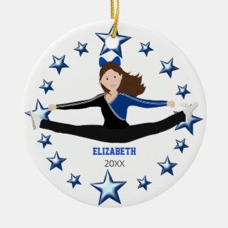 Dance Cheer Brunette Blue And Black Ceramic Ornament