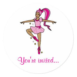"""Dance Competition Invitation: Ballerina in Pink 5.25"""" Square Invitation Card"""
