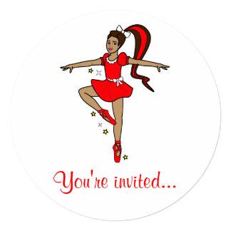 """Dance Competition Invitation: Ballerina in Red 5.25"""" Square Invitation Card"""