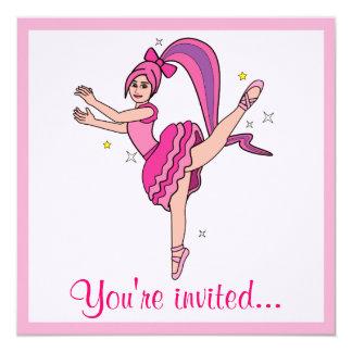 """Dance Competition Invitation Ballerina with Bow 5.25"""" Square Invitation Card"""