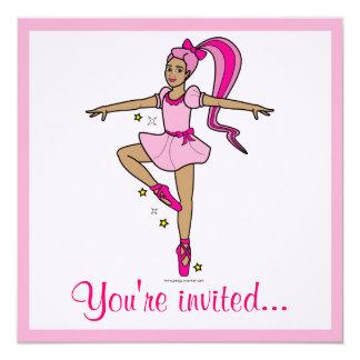 """Dance Competition Invitation: Dancer in Pink 5.25"""" Square Invitation Card"""