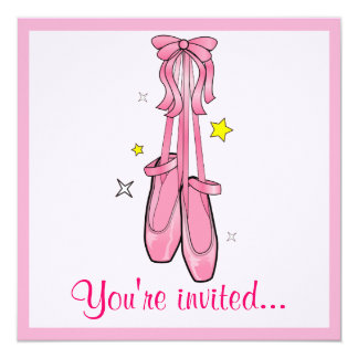 "Dance Competition Invitation Hanging Ballet Shoes 5.25"" Square Invitation Card"