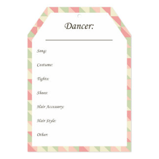 Dance Costume Hang Tags in Pink and Green Card