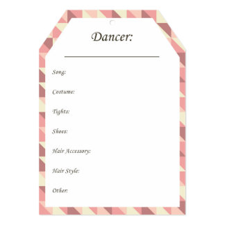 Dance Costume Hang Tags in Pink Card