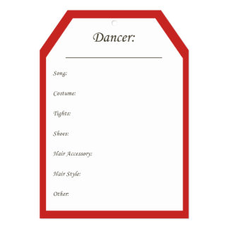 Dance Costume Hanger Tag in Red Card