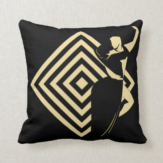 Dance Couple On Black Background With Diamond Throw Pillow