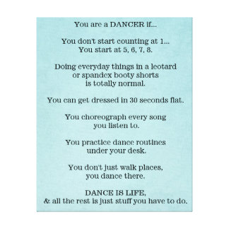 Dance, Dancer, Ballet, Hip Hop, Jazz, Tap, Modern, Canvas Print