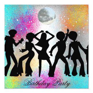 "Dance Disco Birthday Party psychodelic 5.25"" Square Invitation Card"
