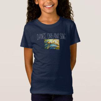 Dance Dream Sing Bird Art Girls Jersey T-Shirt